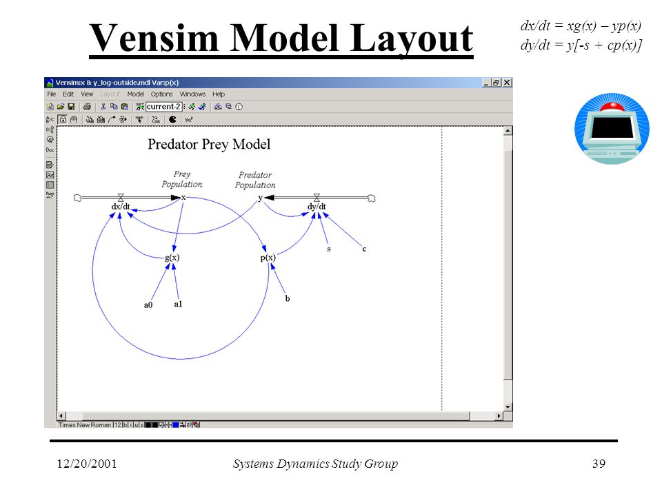 12/20/2001Systems Dynamics Study Group39 Vensim Model Layout dx/dt = xg(x) – yp(x) dy/dt = y[-s + cp(x)]
