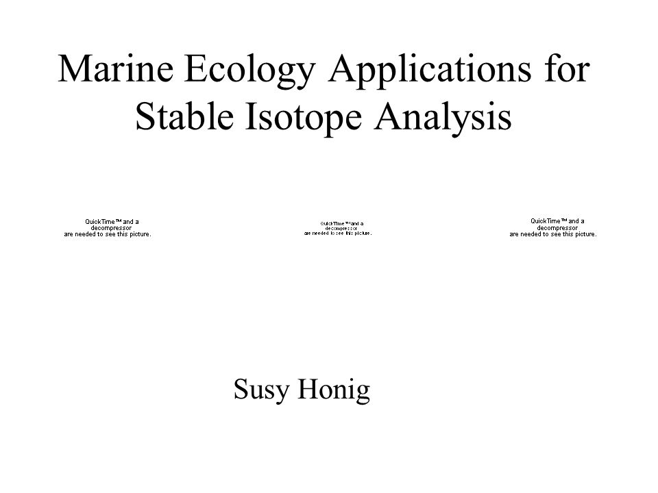Marine Ecology Applications for Stable Isotope Analysis Susy Honig