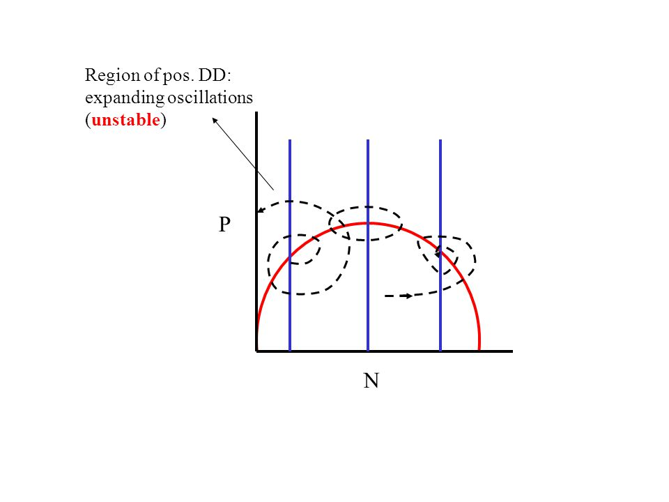 P N Region of pos. DD: expanding oscillations (unstable)