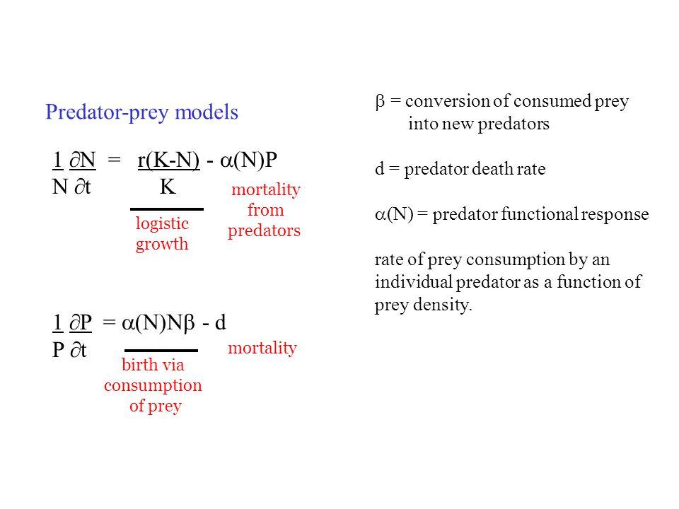 Predator-prey models 1  N = r(K-N) -  (N)P N  t K 1  P =  (N)N  - d P  t  = conversion of consumed prey into new predators d = predator death