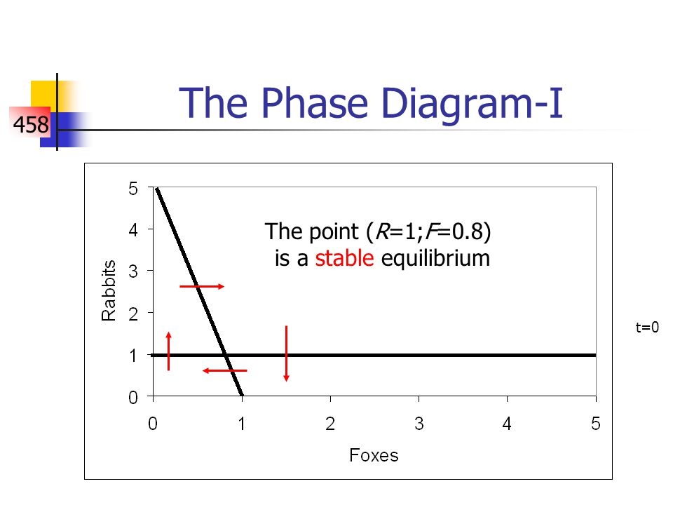458 The Phase Diagram-I The point (R=1;F=0.8) is a stable equilibrium t=0