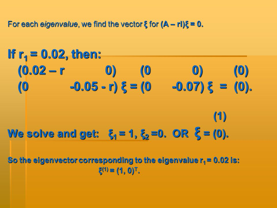 For each eigenvalue, we find the vector ξ for (A – rI)ξ = 0.