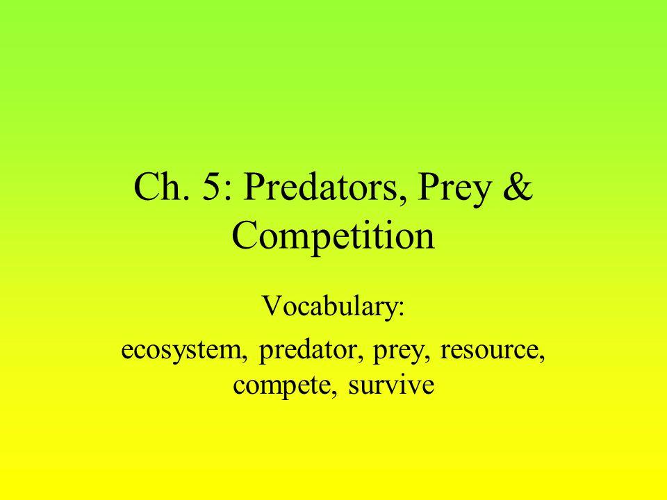 Ch. 5: Predators, Prey & Competition Vocabulary: ecosystem, predator, prey, resource, compete, survive