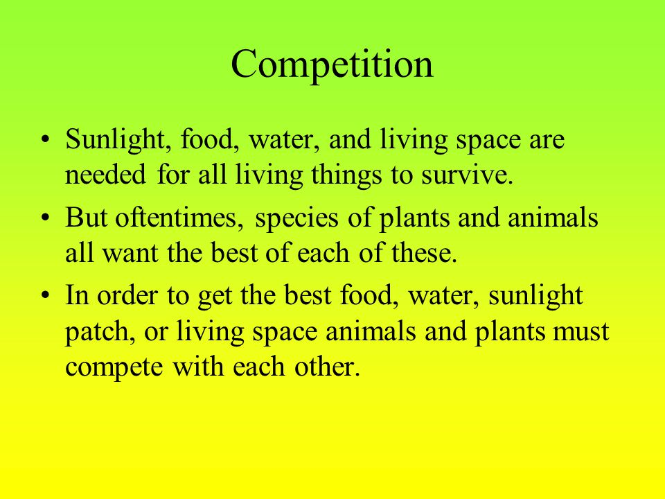 Competition Sunlight, food, water, and living space are needed for all living things to survive.