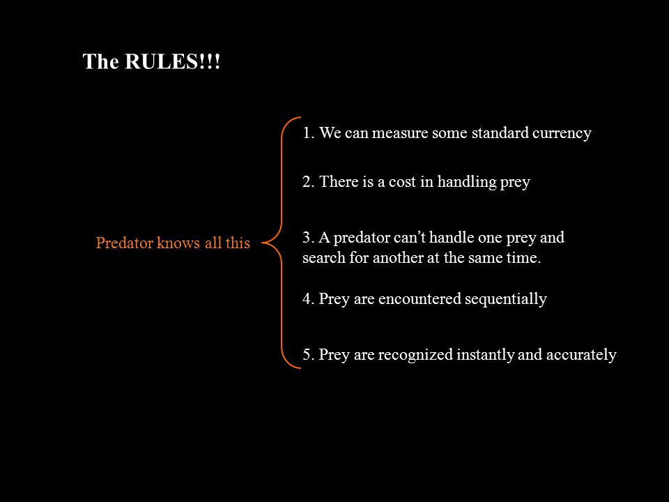 The RULES!!. 1. We can measure some standard currency 2.