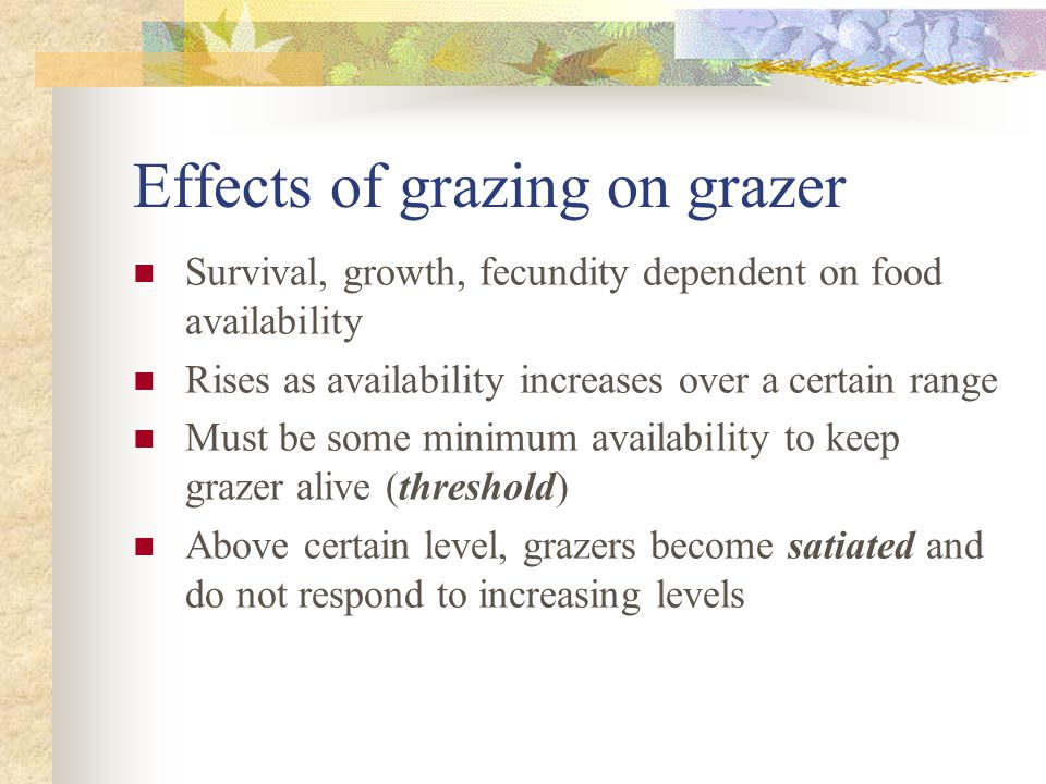 Effects of grazing on grazer Survival, growth, fecundity dependent on food availability Rises as availability increases over a certain range Must be some minimum availability to keep grazer alive (threshold) Above certain level, grazers become satiated and do not respond to increasing levels