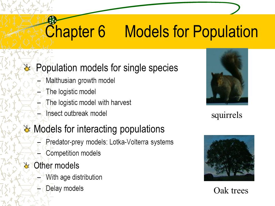 Chapter 6 Models for Population Population models for single species –Malthusian growth model –The logistic model –The logistic model with harvest –Insect outbreak model Models for interacting populations –Predator-prey models: Lotka-Volterra systems –Competition models Other models –With age distribution –Delay models squirrels Oak trees