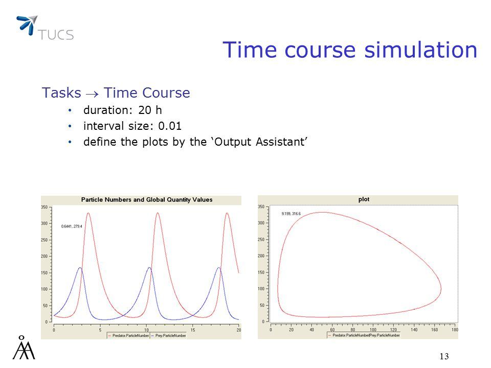 13 Time course simulation Tasks  Time Course duration: 20 h interval size: 0.01 define the plots by the 'Output Assistant'