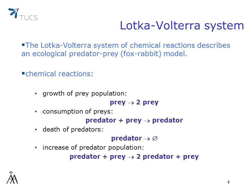 4 Lotka-Volterra system  The Lotka-Volterra system of chemical reactions describes an ecological predator-prey (fox-rabbit) model.