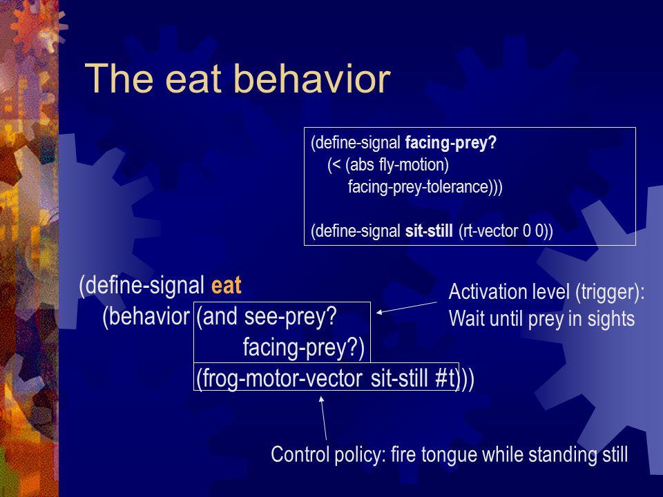The eat behavior (define-signal eat (behavior (and see-prey.