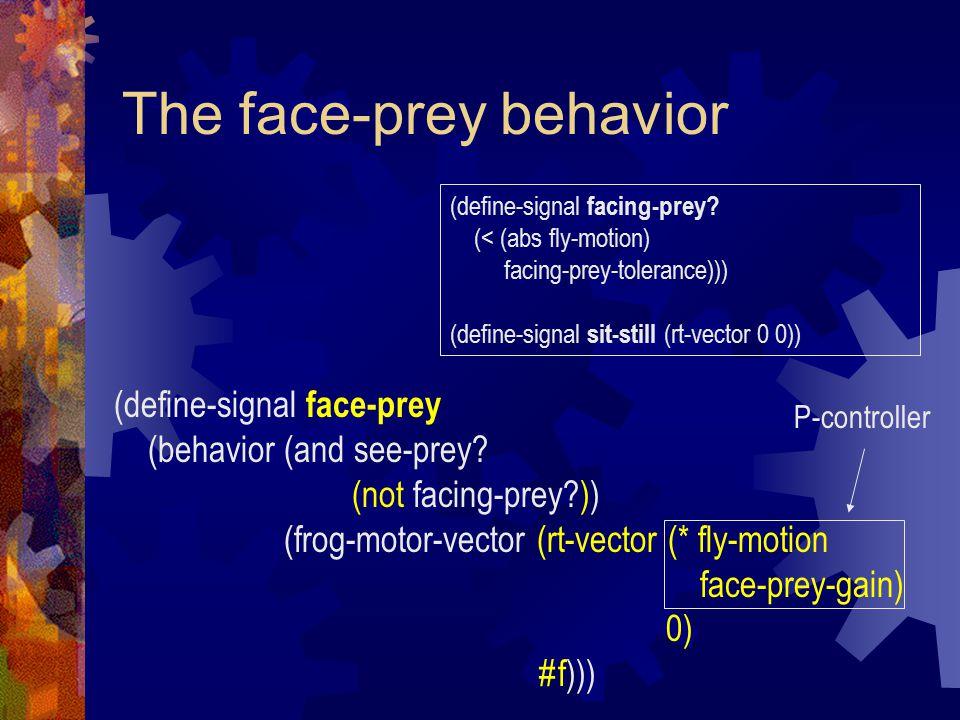 The face-prey behavior (define-signal face-prey (behavior (and see-prey.