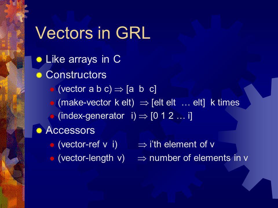 Vectors in GRL  Like arrays in C  Constructors  (vector a b c)  [a b c]  (make-vector k elt)  [elt elt … elt] k times  (index-generator i)  [0 1 2 … i]  Accessors  (vector-ref v i)  i'th element of v  (vector-length v)  number of elements in v