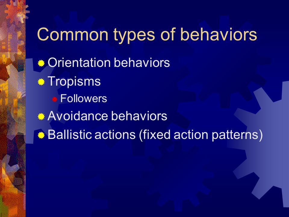 Common types of behaviors  Orientation behaviors  Tropisms  Followers  Avoidance behaviors  Ballistic actions (fixed action patterns)