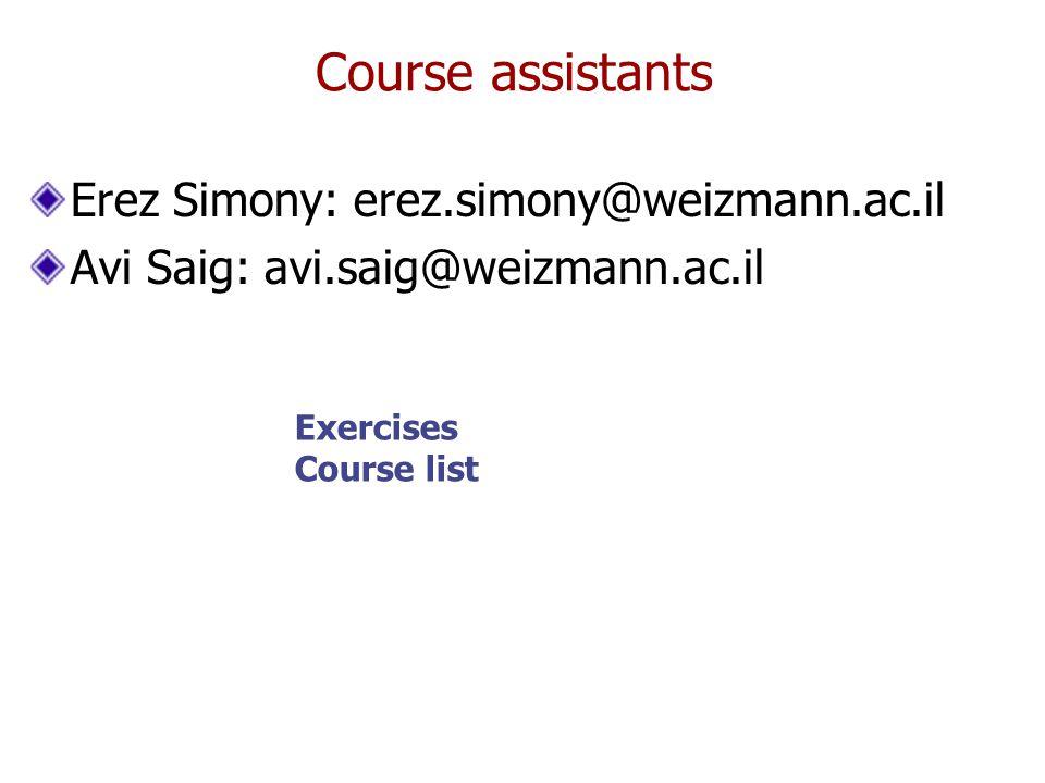 Course assistants Erez Simony: erez.simony@weizmann.ac.il Avi Saig: avi.saig@weizmann.ac.il Exercises Course list