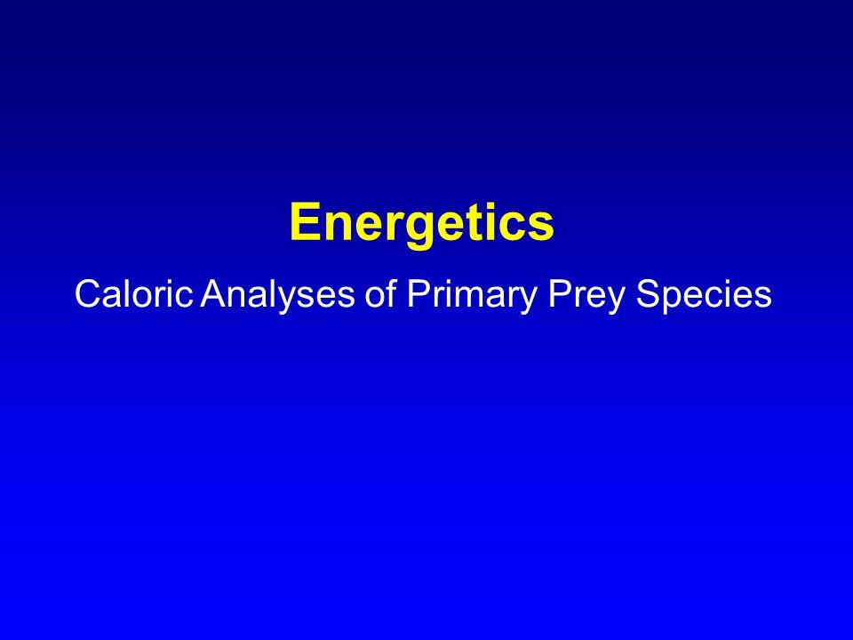 Energetics Caloric Analyses of Primary Prey Species