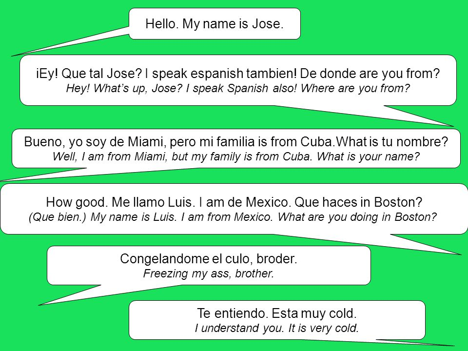 Hello. My name is Jose. iEy. Que tal Jose. I speak espanish tambien.
