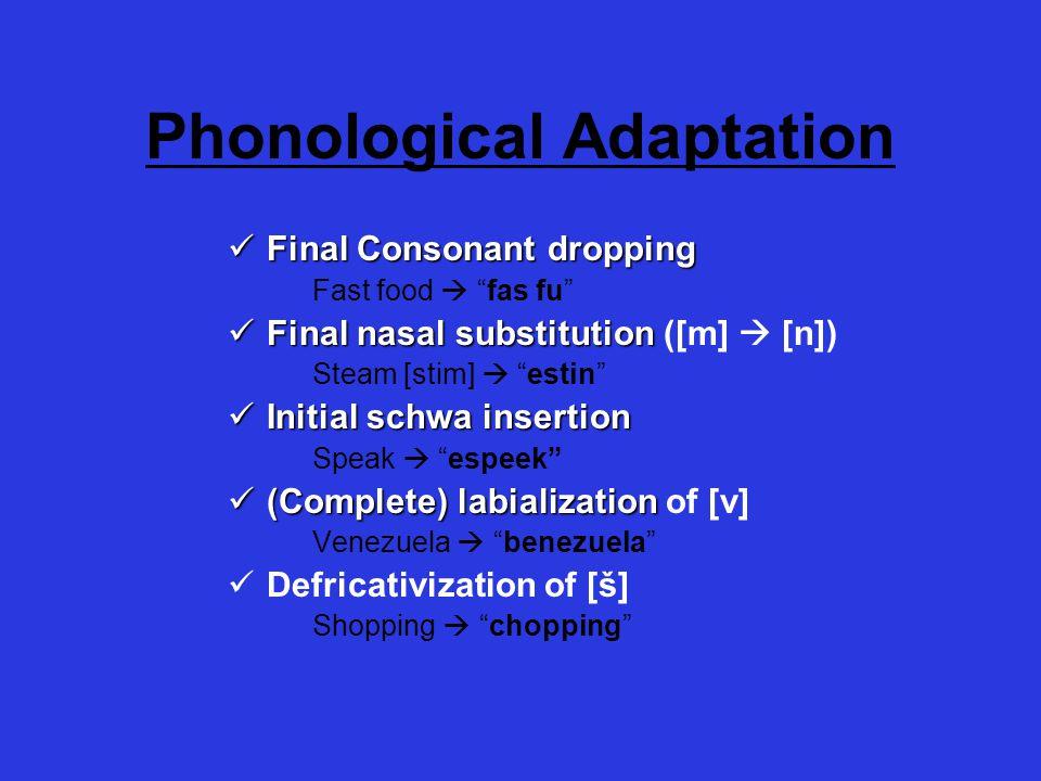 "Phonological Adaptation Final Consonant dropping Final Consonant dropping Fast food  ""fas fu"" Final nasal substitution Final nasal substitution ([m]"