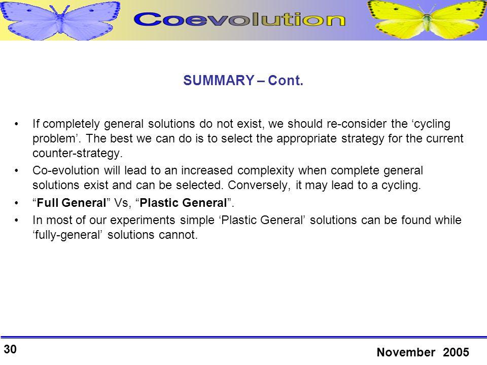 30 November 2005 SUMMARY – Cont.