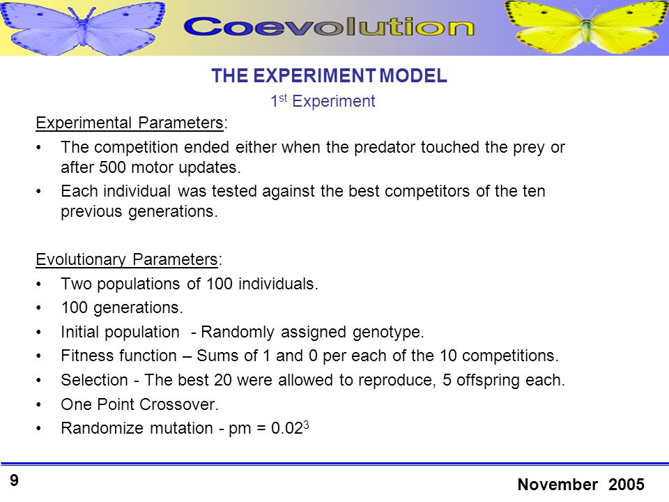 20 November 2005 RESULTS 3 rd Experiment Prey in general overcomes predators.