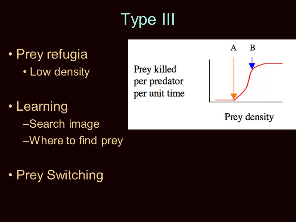 Type III Prey refugia Low density Learning –Search image –Where to find prey Prey Switching