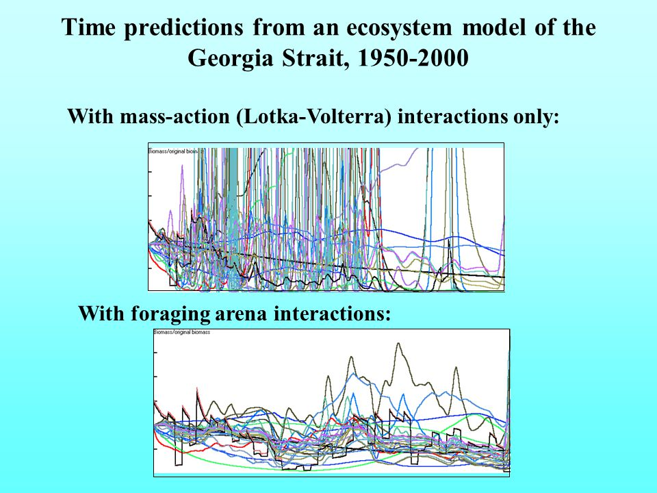 Time predictions from an ecosystem model of the Georgia Strait, 1950-2000 With mass-action (Lotka-Volterra) interactions only: With foraging arena interactions: