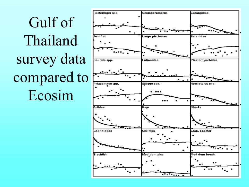 Gulf of Thailand survey data compared to Ecosim