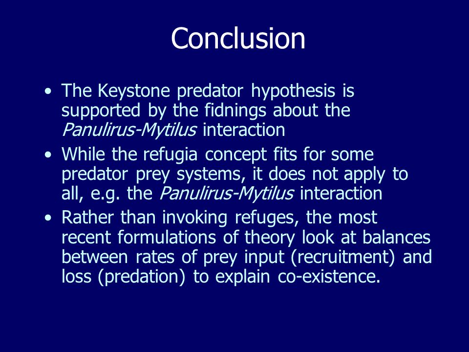 Conclusion The Keystone predator hypothesis is supported by the fidnings about the Panulirus-Mytilus interaction While the refugia concept fits for some predator prey systems, it does not apply to all, e.g.
