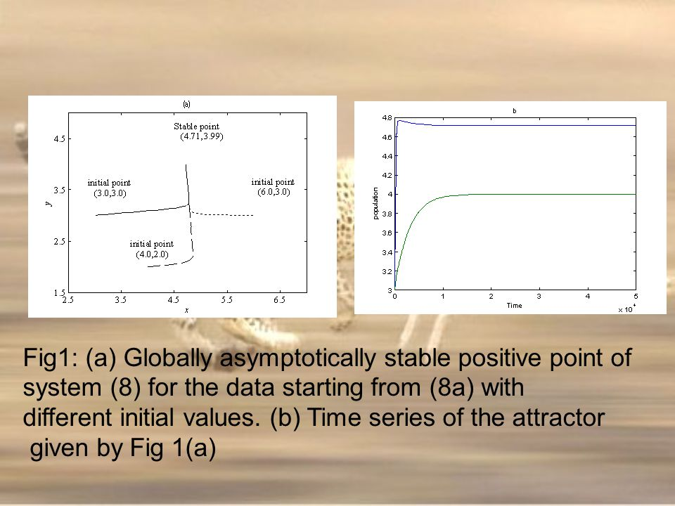 Fig1: (a) Globally asymptotically stable positive point of system (8) for the data starting from (8a) with different initial values. (b) Time series o