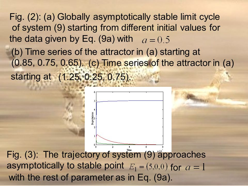 Fig. (2): (a) Globally asymptotically stable limit cycle of system (9) starting from different initial values for the data given by Eq. (9a) with (c)