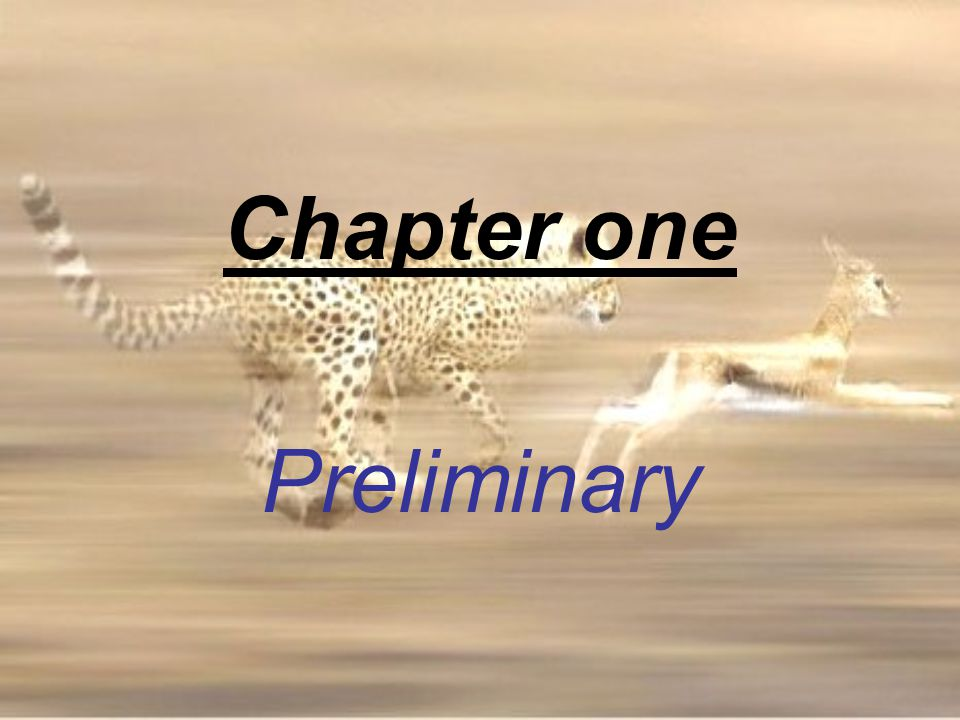 Chapter one Preliminary