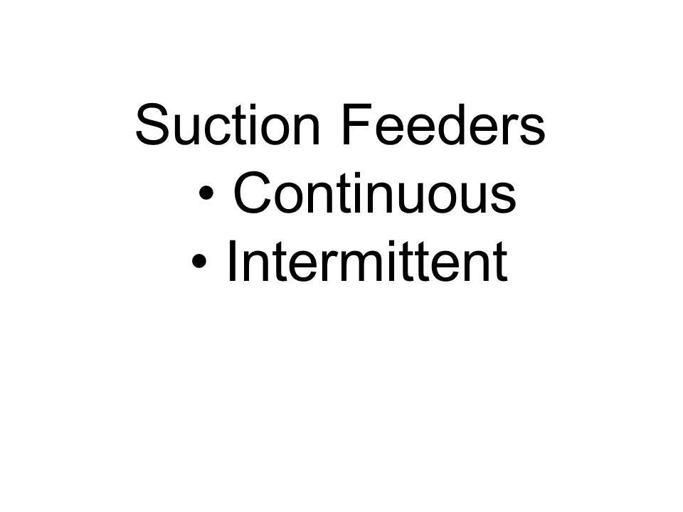 Suction Feeders Continuous Intermittent