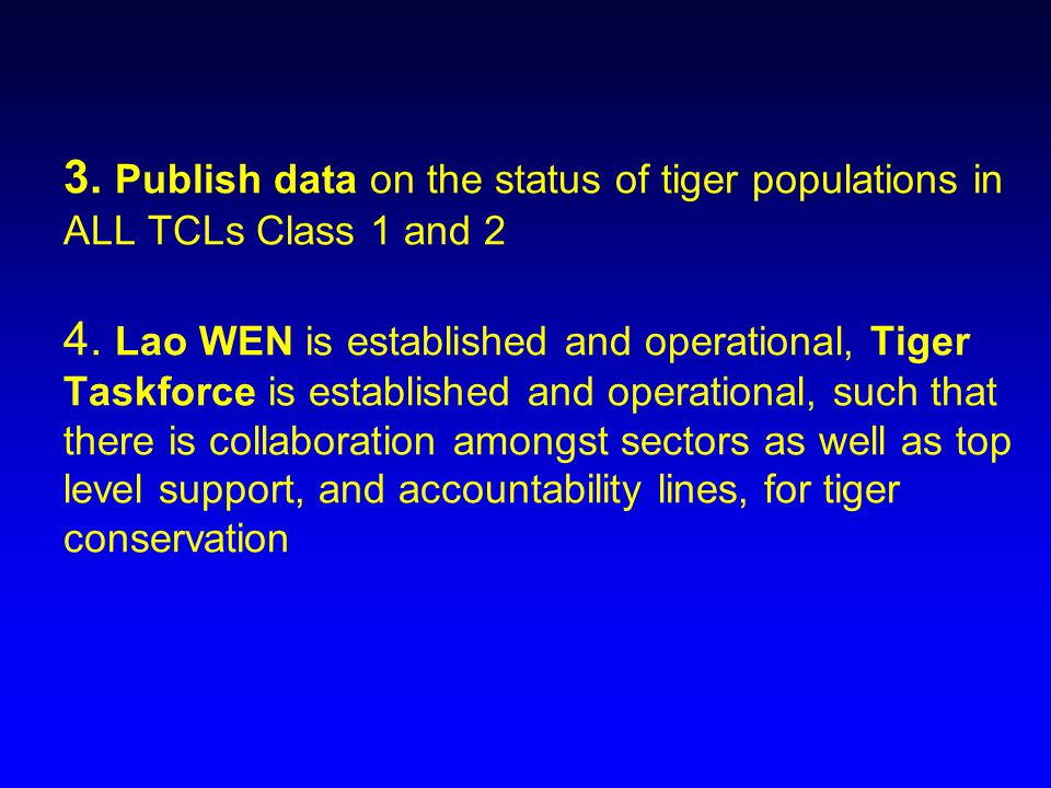 3. Publish data on the status of tiger populations in ALL TCLs Class 1 and 2 4.