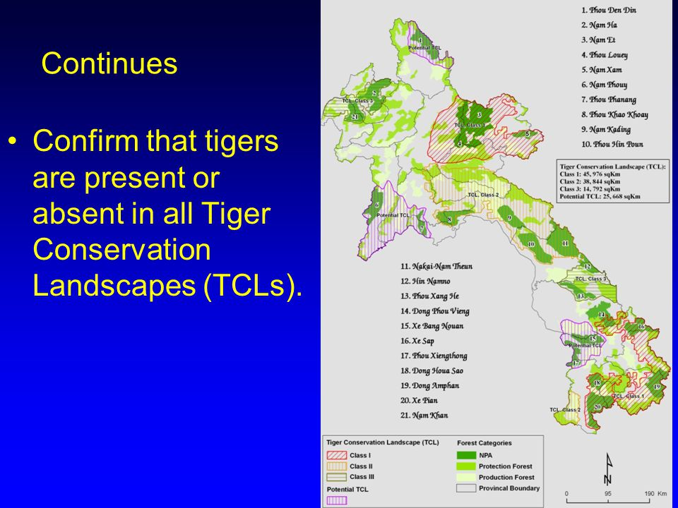 Continues Confirm that tigers are present or absent in all Tiger Conservation Landscapes (TCLs).