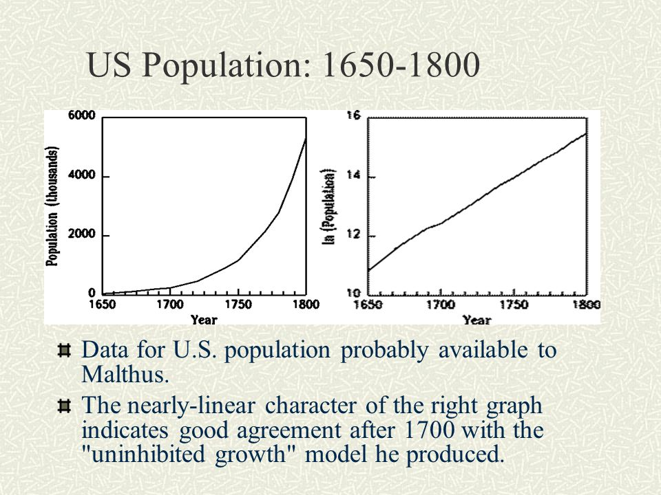 Governing Principle To develop a mathematical model, we formulate Malthus' observation as the governing principle for our model: Populations appeared to increase by a fixed proportion over a given period of time, and that, in the absence of constraints, this proportion is not affected by the size of the population.