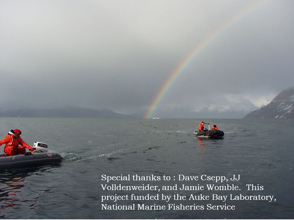 Special thanks to : Dave Csepp, JJ Volldenweider, and Jamie Womble. This project funded by the Auke Bay Laboratory, National Marine Fisheries Service