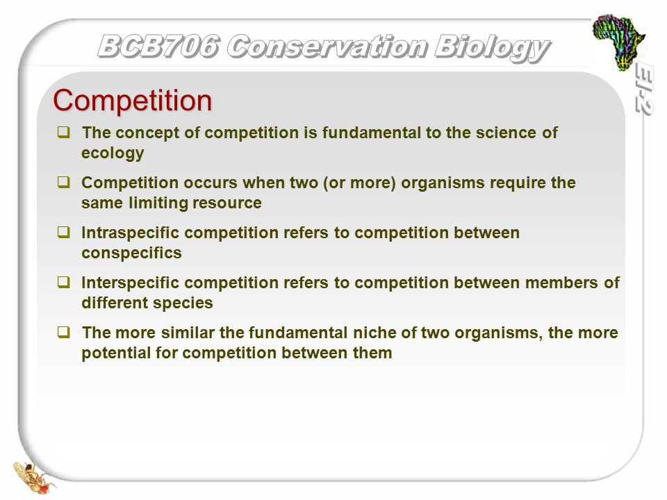   The concept of competition is fundamental to the science of ecology   Competition occurs when two (or more) organisms require the same limiting resource   Intraspecific competition refers to competition between conspecifics   Interspecific competition refers to competition between members of different species   The more similar the fundamental niche of two organisms, the more potential for competition between them Competition