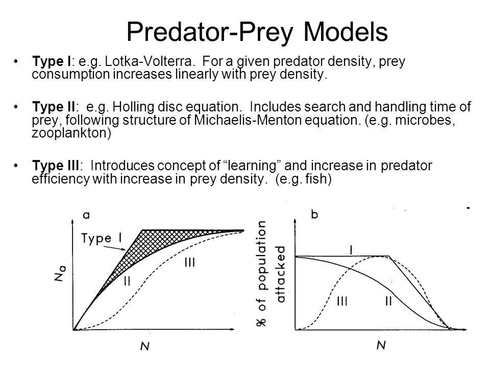 Predator-Prey Models Type I: e.g. Lotka-Volterra.