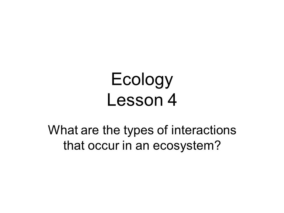 Ecology Lesson 4 What are the types of interactions that occur in an ecosystem