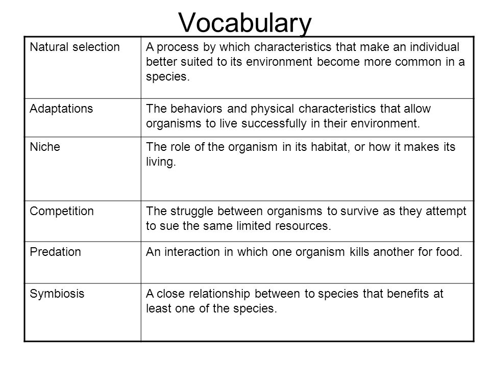 Vocabulary Natural selectionA process by which characteristics that make an individual better suited to its environment become more common in a species.