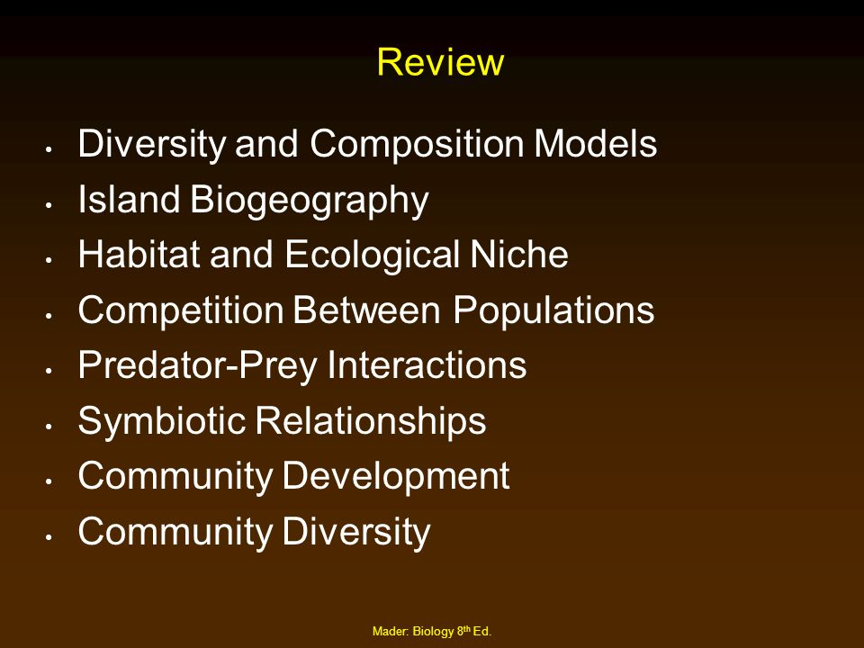 Mader: Biology 8 th Ed. Review Diversity and Composition Models Island Biogeography Habitat and Ecological Niche Competition Between Populations Preda