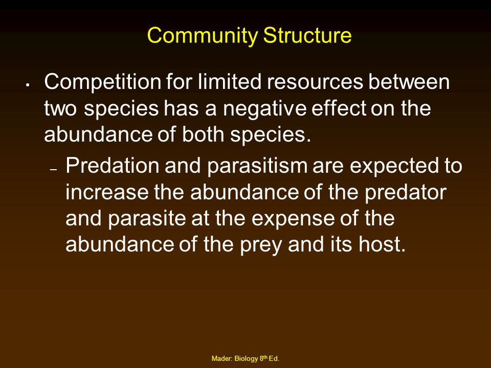 Mader: Biology 8 th Ed. Community Structure Competition for limited resources between two species has a negative effect on the abundance of both speci