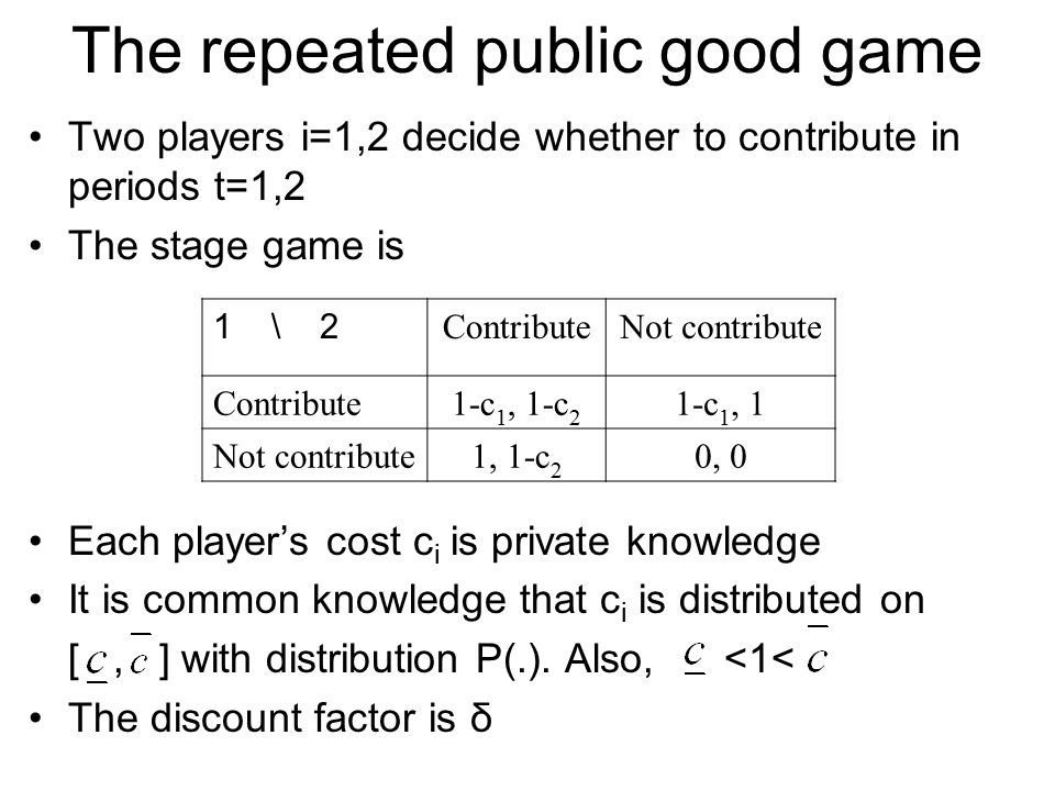 The repeated public good game Two players i=1,2 decide whether to contribute in periods t=1,2 The stage game is Each player's cost c i is private know