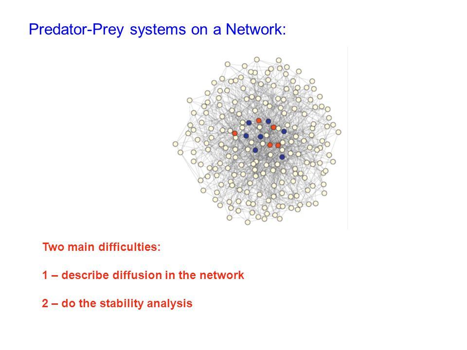 Predator-Prey systems on a Network: Two main difficulties: 1 – describe diffusion in the network 2 – do the stability analysis