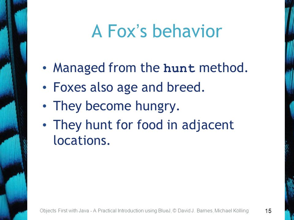 15 A Fox's behavior Managed from the hunt method. Foxes also age and breed.