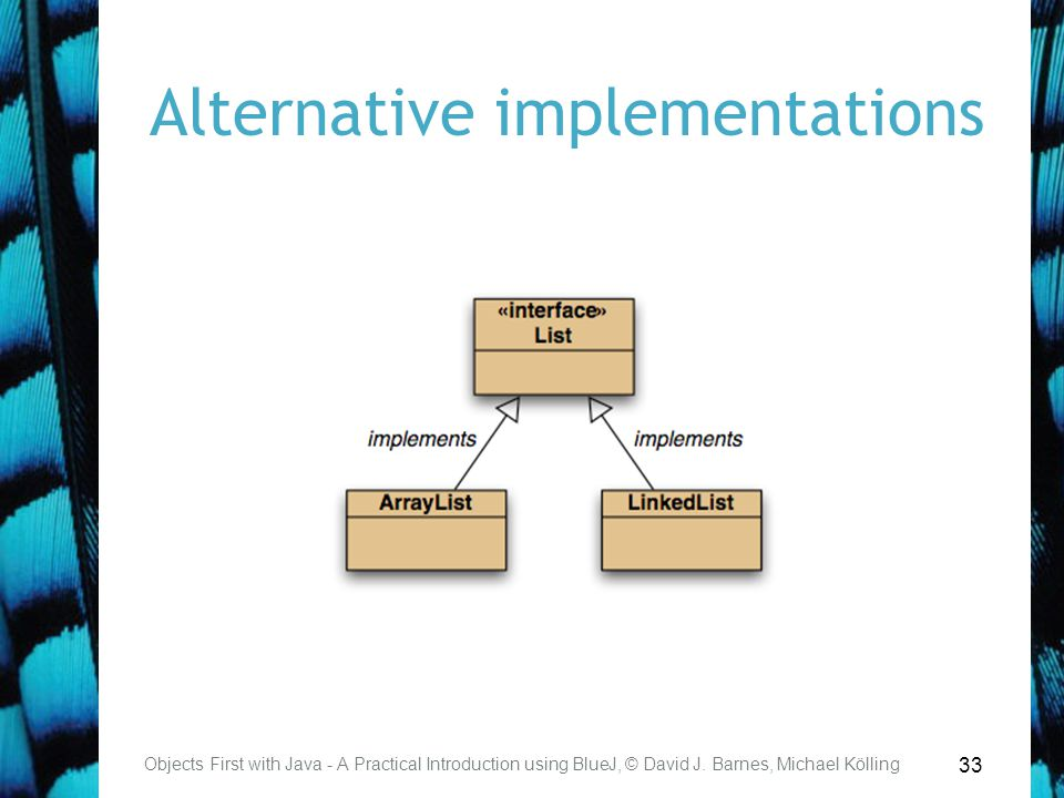 33 Alternative implementations Objects First with Java - A Practical Introduction using BlueJ, © David J.
