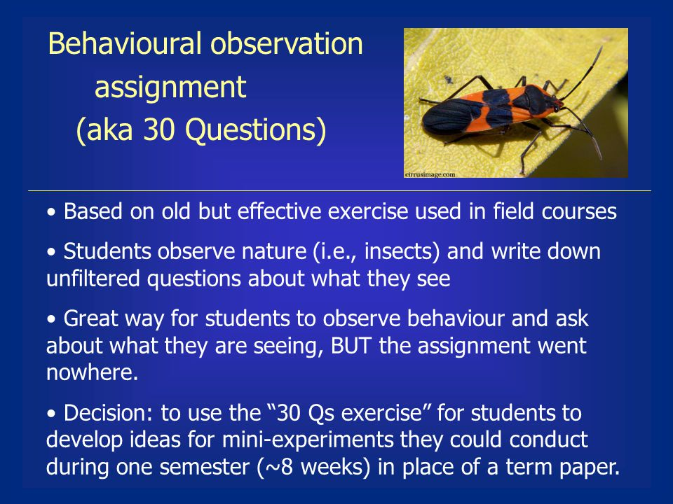 Based on old but effective exercise used in field courses Students observe nature (i.e., insects) and write down unfiltered questions about what they see Great way for students to observe behaviour and ask about what they are seeing, BUT the assignment went nowhere.