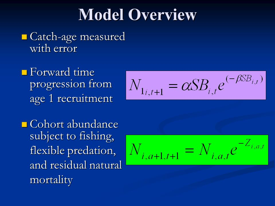 Model Overview Catch-age measured with error Catch-age measured with error Forward time progression from Forward time progression from age 1 recruitment Cohort abundance subject to fishing, Cohort abundance subject to fishing, flexible predation, and residual natural mortality
