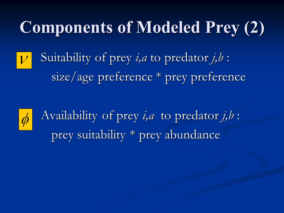 Total Annual Consumption Consumption of prey i,a by predator j,b Prey Availability Predator Abundance Predator Ingestion Total Available Food (Modeled Prey And Other Food)