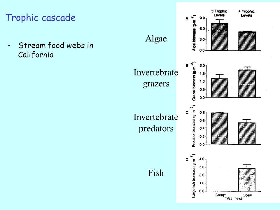 Trophic cascade Stream food webs in California Algae Invertebrate grazers Invertebrate predators Fish