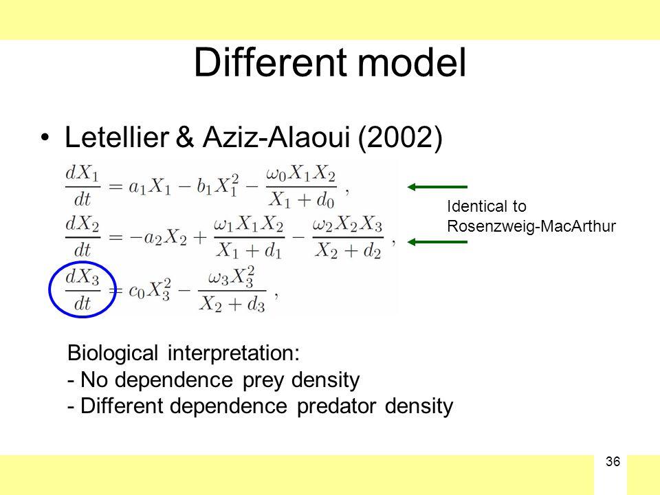 36 Different model Letellier & Aziz-Alaoui (2002) Biological interpretation: - No dependence prey density - Different dependence predator density Iden